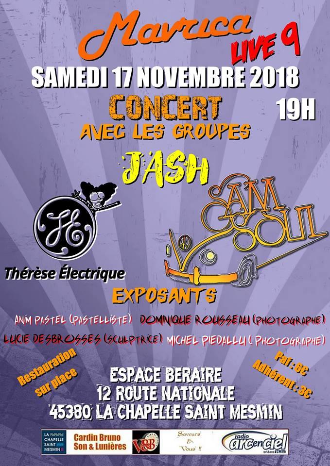 """17 novembre 2018 Jash, Therese Electrique, Sam Soul à La Chapelle Saint Mesmin """"Espace Beraire"""""""