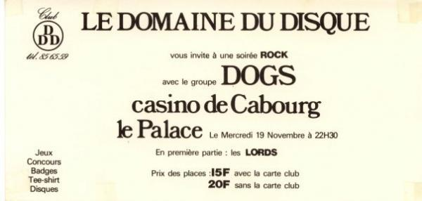 "19 novembre 1980 les Dogs, the Lords à Cabourg ""le Palace"""