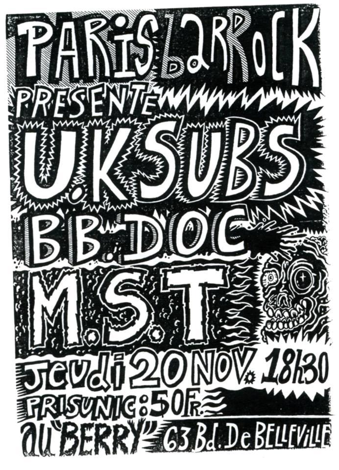 """20 novembre 1986 UK Subs, BB Doc, MST à Paris """"le Berry"""""""