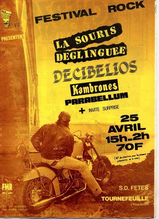 """25 avril 1987 La Souris Déglinguée, Décibelios, Kambrones, Parabellum à Tournefeuille """"Salle des Fetes"""""""
