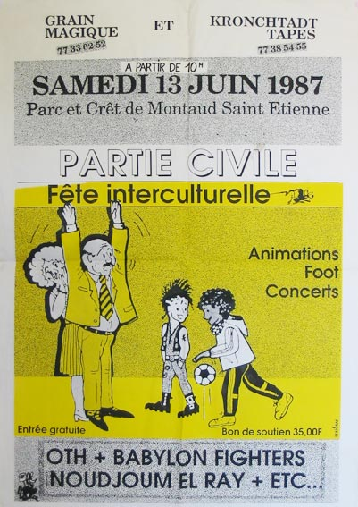 "13 juin 1987 OTH, Babylon Fighters, Moudjoum El Ray à Saint Etienne ""Parc et Cret de Montaud"""