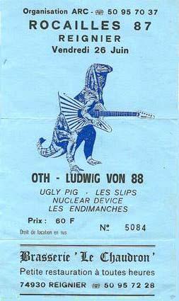 26 juin 1987 OTH, Ludwig Von 88, Ugly Pig, les Slips, Nuclear Device, les Endimanches à Reignier