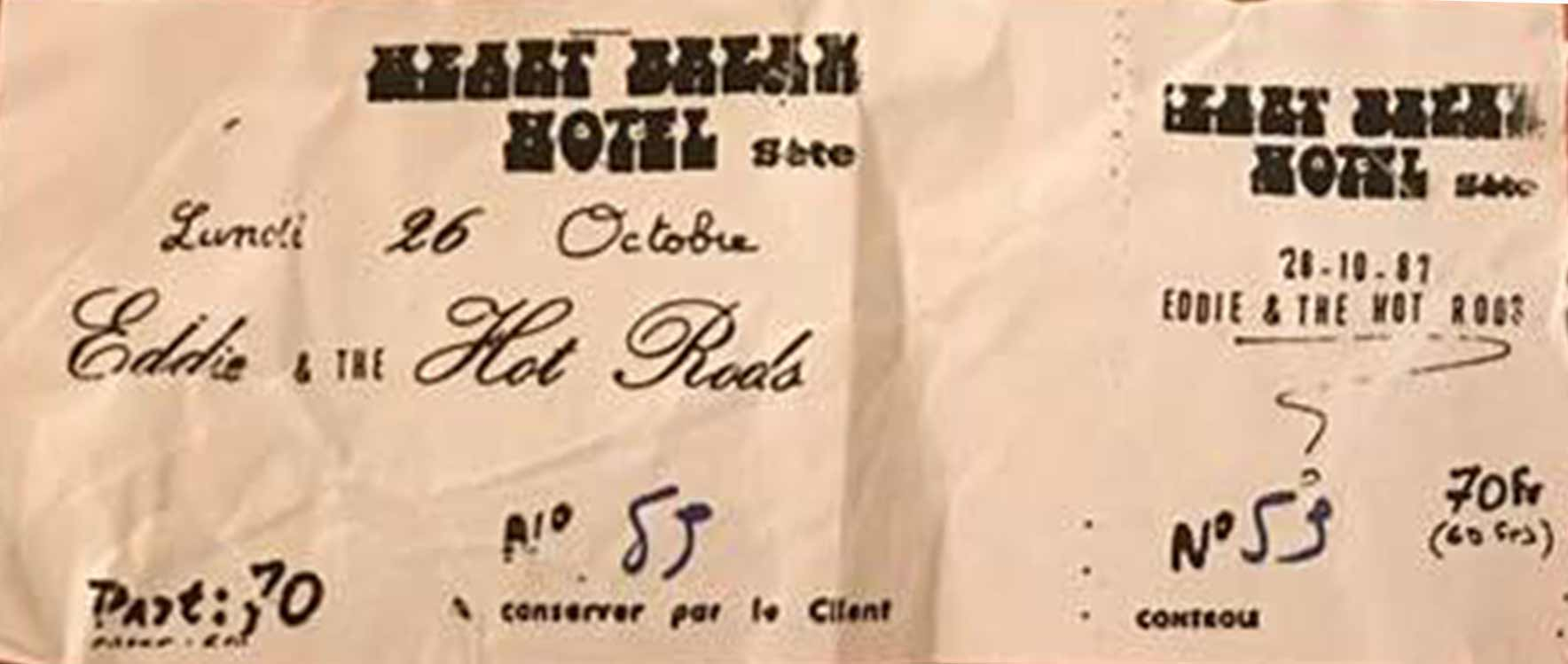 """26 octobre 1987 Eddie & the Hot Rods à Sète """"Heartbreak Hotel"""""""