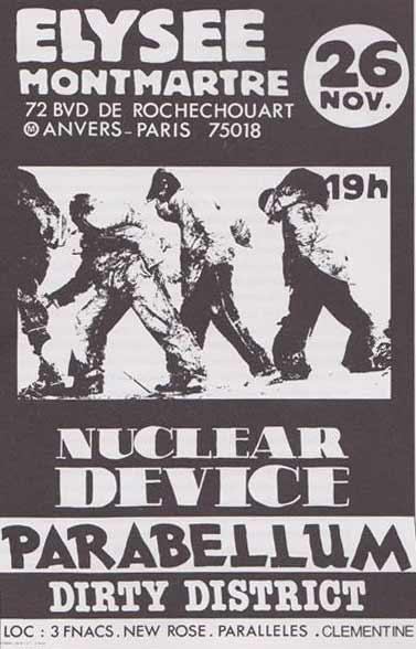 """26 novembre 1987 Nuclear Device, Parabellum, Dirty District à Paris """"Elysee Montmartre"""""""