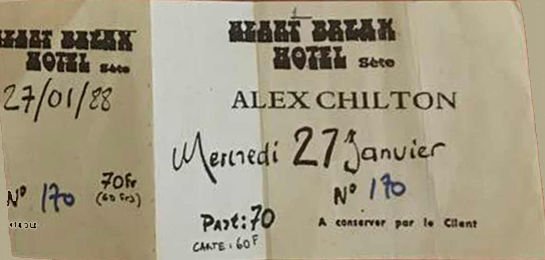 """27 janvier 1988 Alex Chilton à Sete """"Heartbreak Hotel"""""""