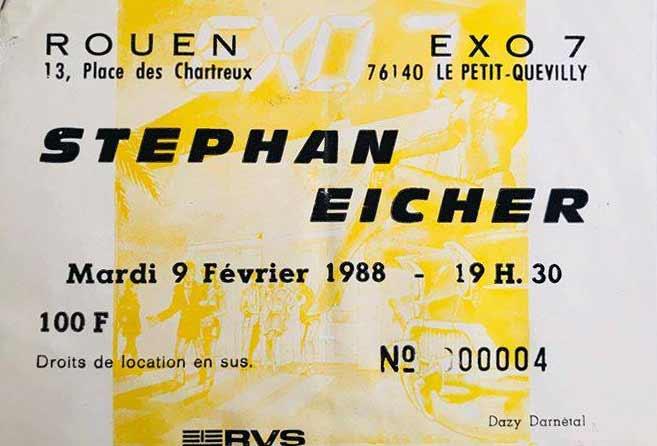 """9 février 1988 Stephane Eicher à Petit Quevilly """"Exo 7"""""""