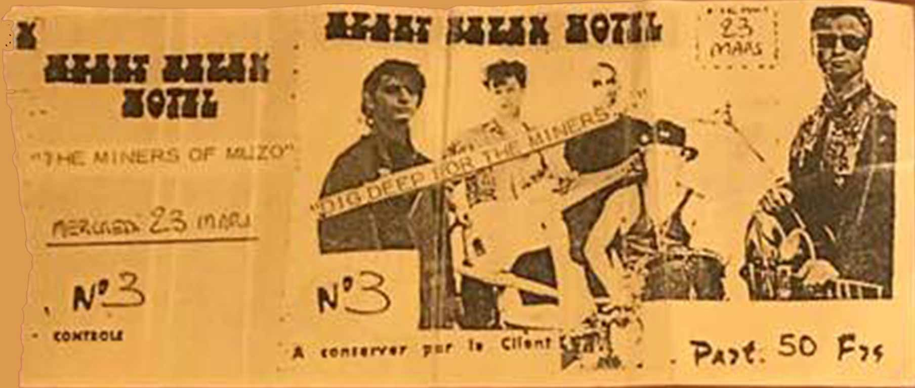 """23 mars 1988 Miners Of Muzo à Sete """"Heartbreak Hotel"""""""
