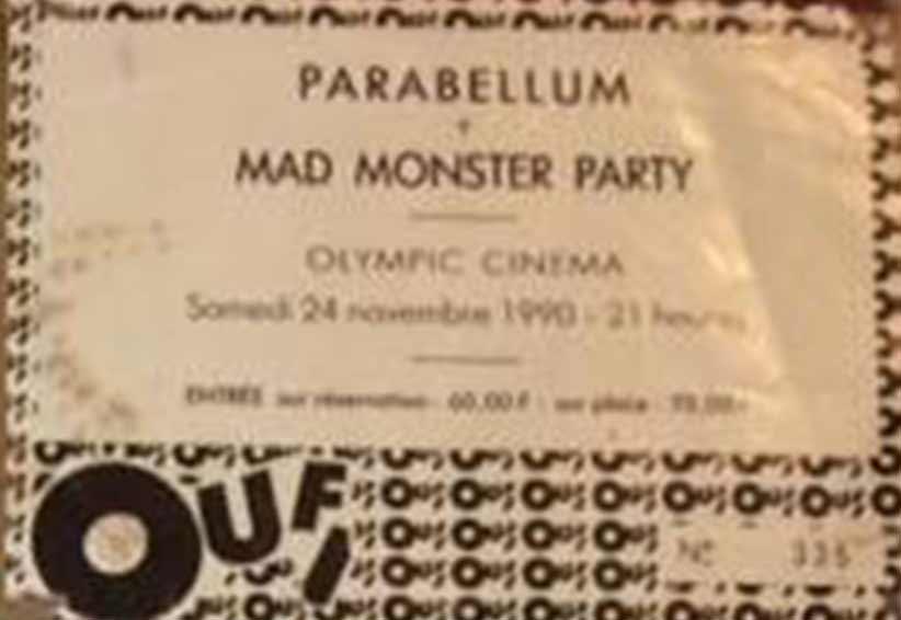 """24 novembre 1990 Parabellum, Mad Monster Party à Nantes """"l'Olympic"""""""