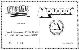 """16 novembre 1991 Molodoï à Reims """"L'Usine"""""""