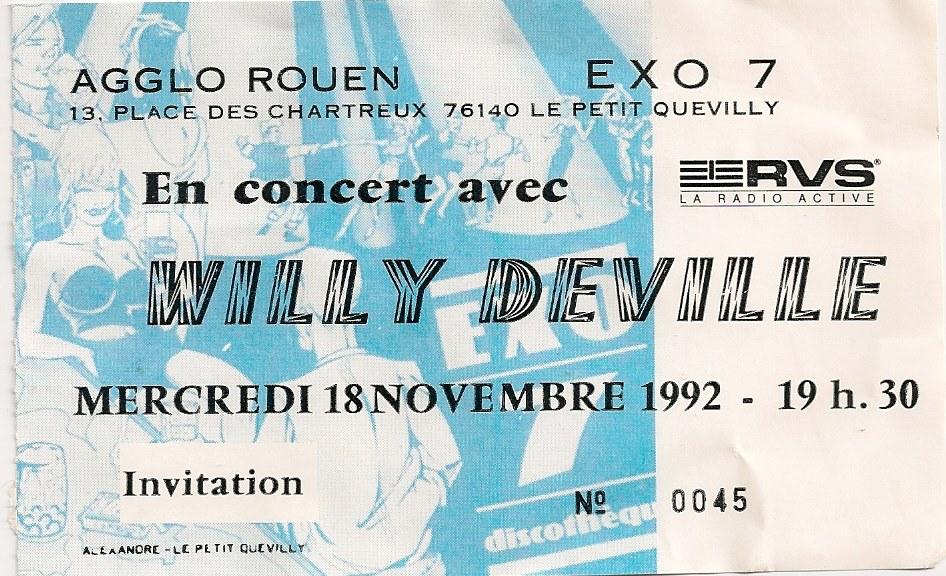 18 novembre 1992 Willy Deville à Petit Quevilly Exo 7