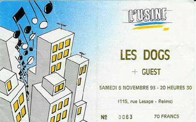 """8 novembre 1993 les Dogs à Reims """"l'Usine"""""""