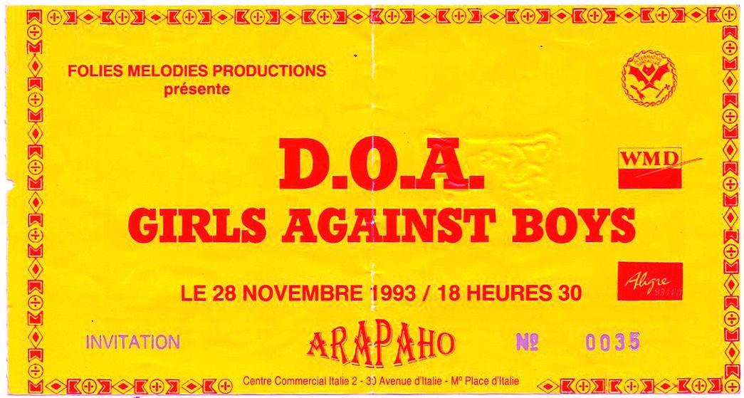 "28 novembre 1993 DOA, Girls Against Boys à Paris ""Arapaho"""