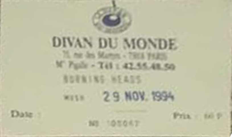 """29 novembre 1994 Burning Heads à Paris """"Divan du Monde"""""""