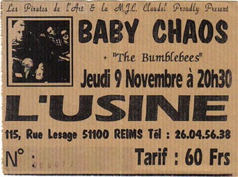 "9 novembre 1995 Baby Chaos, The Bumblebees à Reims ""l'Usine"""