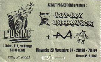 """23 novembre 1997 Jay Jay Johanson, M à Reims """"L'Usine"""""""