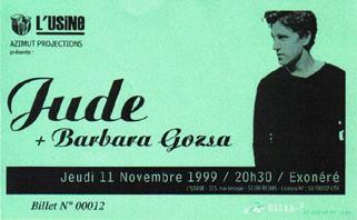 "11 novembre 1999 Jude, Barbara Goza à Reims ""L'Usine"""