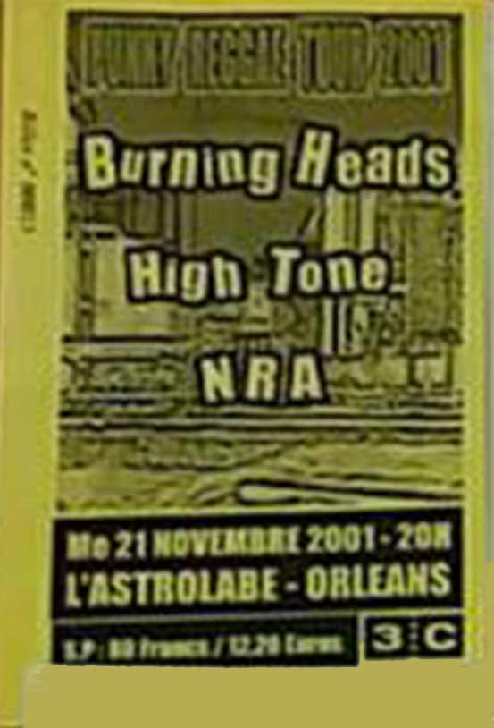 "21 novembre 2001 Burning Heads, High tone, NRA à Orléans ""Astrolabe"""