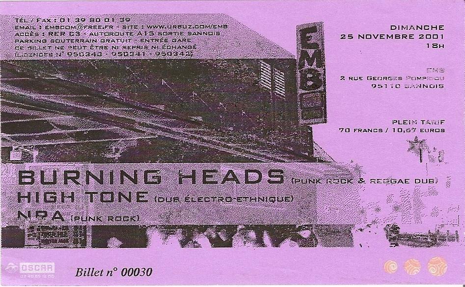 "25 novembre 2001 Burning Heads, High Tone, NRA à Sannois ""EMB"""