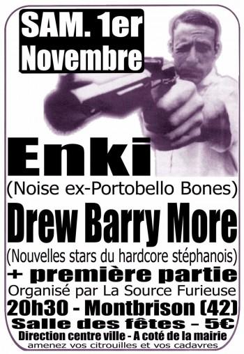 """1er novembre 2003 Enki, Asschapel, Submerge, Mihai Edrisch, Drew Barry More à Montbrison """"Salle des Fetes"""""""