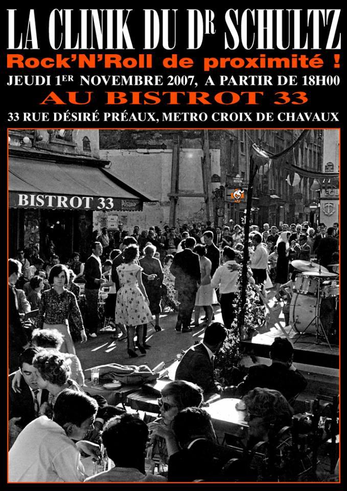 """1er novembre 2007 La Clinik du Dr Schultz à Montreuil """"Bistrot 33"""""""
