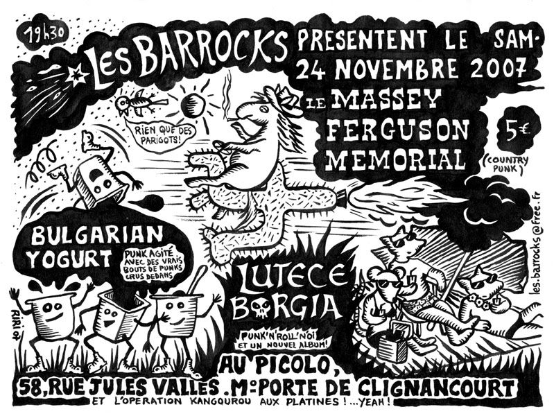 "24 novembre 2007 Massey Fergusson Memorial, Bulgarian Yogurt, Lutece Borgia à Saint Ouen ""le Picolo"""