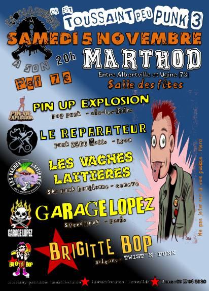 """5 novembre 2011 Garage Lopez, Brigitte Bop, Pin Up Explosion, les Vaches Laitieres, le Réparateur à Marthod """"Salle des Fêtes"""""""