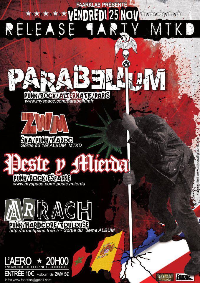 """25 novembre 2011 Parabellum, ZWM, Peste Y Mierda, Arrach à Toulouse """"l'Aero"""""""