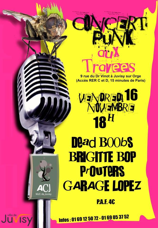 """16 novembre 2012 Garage Lopez, Prouters, Brigitte Bop, Dead Boobs à Juvisy """"MJC Aux Travées"""""""