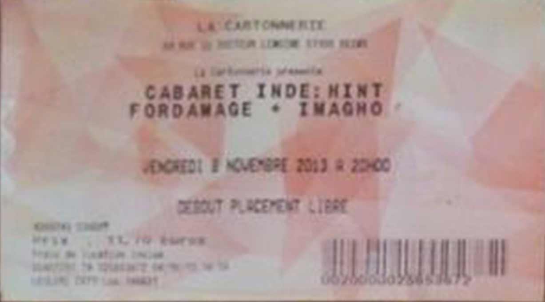 """8 novembre 2013 Hint, Fordamage, Imagho à Reims """"la Cartonnerie"""""""