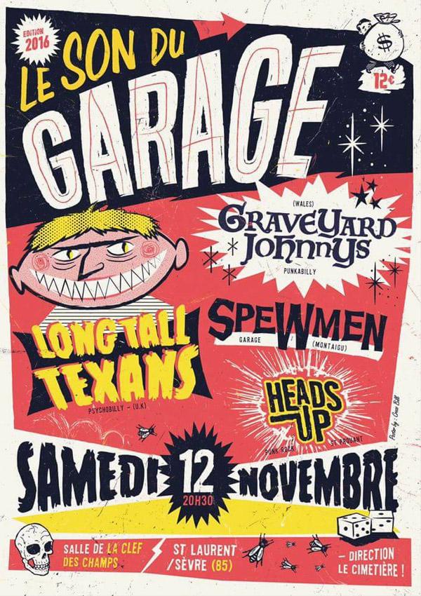 """12 novembre 2016 Long Tall Texans, Graveyard Johnnys, The Spewmen, Heads up à Saint Laurent sur Sèvre """"Clef des Champs"""""""