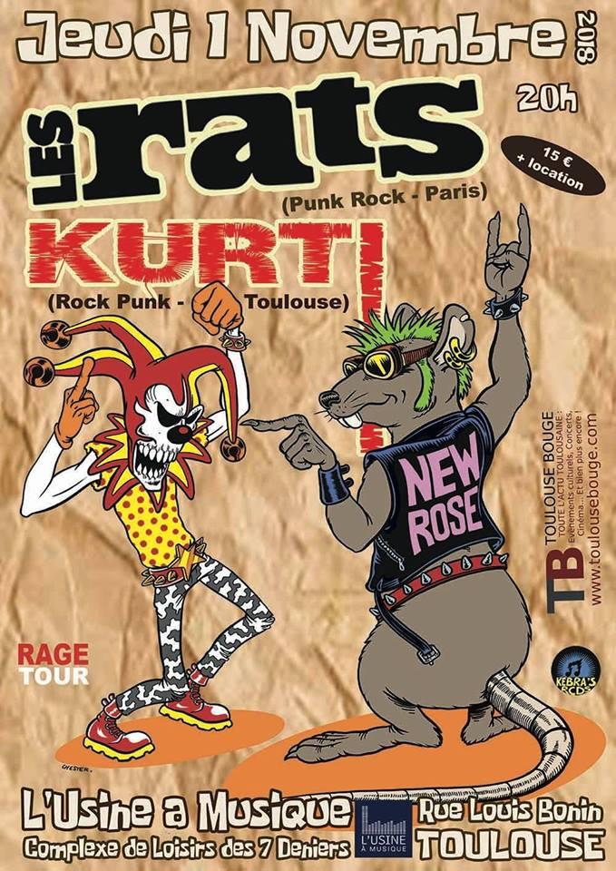 """1er novembre 2018 Les Rats, Kurt à Toulouse """"l'Usine à Musique"""""""