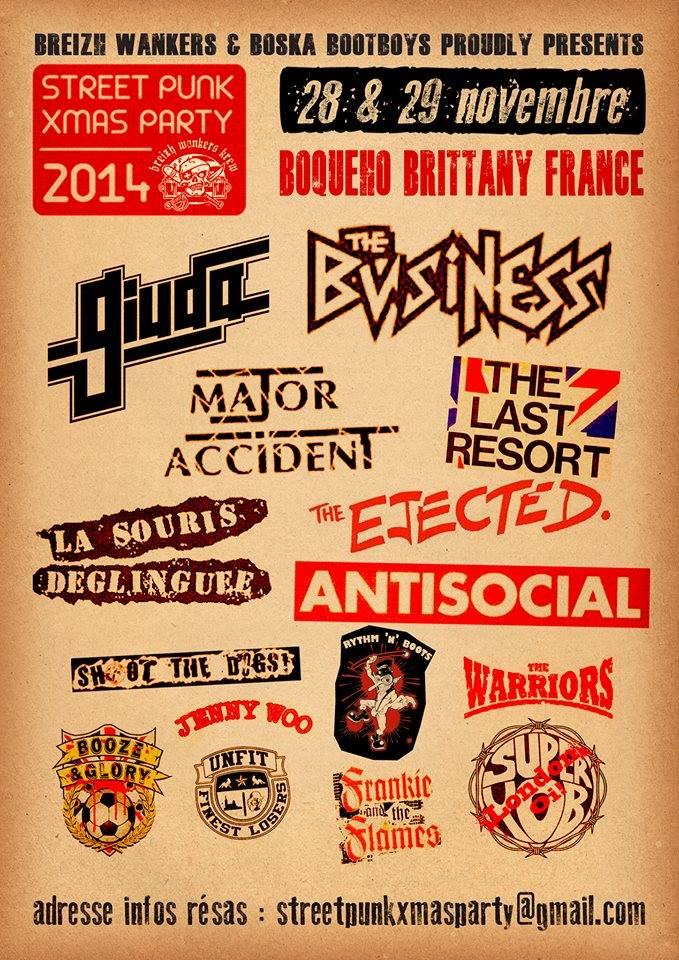 "28 novembre 2014 The Warriors, Rythm'Boots, SuperYob, Antisocial, Giuda, Frankie The Flames à Boqueho ""Salle des Fetes"""