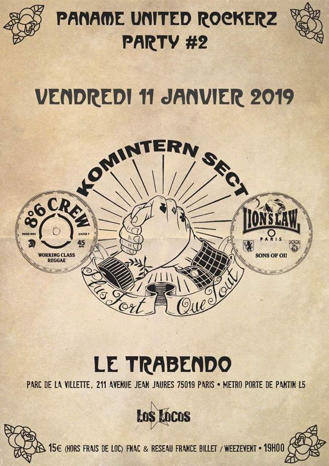"""11 janvier 2019 Komintern Sect, 8.6 Crew, Lion's Law à Paris """"Trabendo"""""""