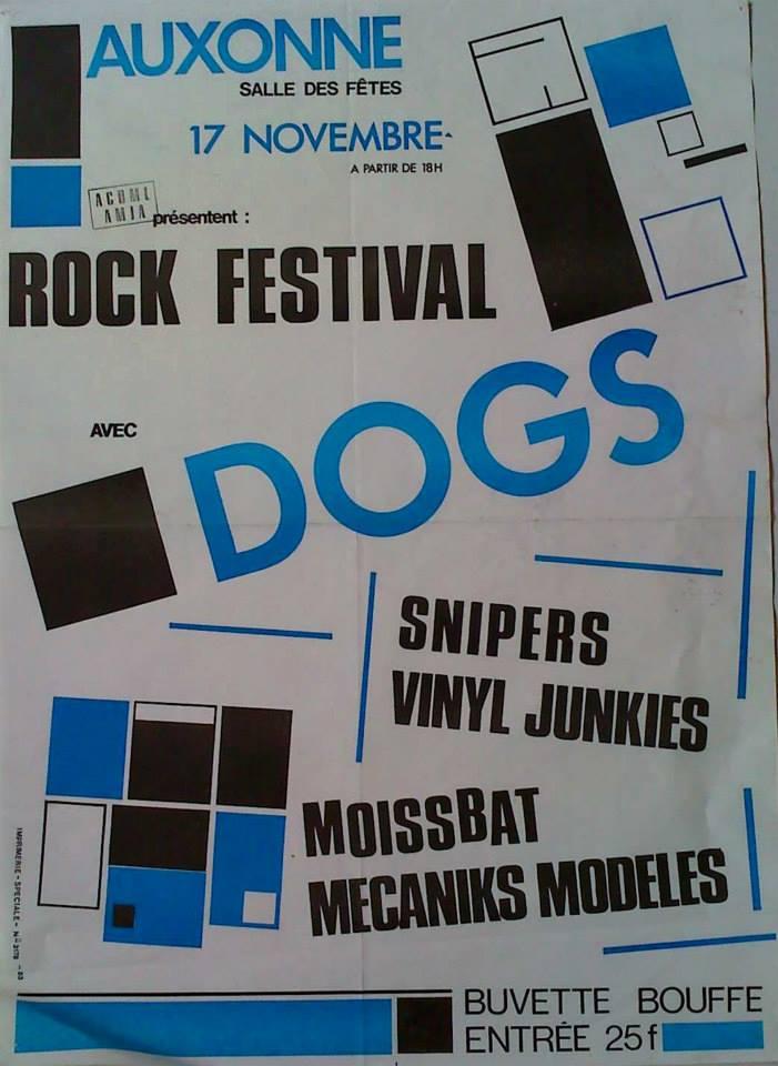 """17 Novembre ? Dogs, Snipers, Vinyl Junkies, Moissbat, Mecanicks Modeles à Auxonne """"Salle des Fetes"""""""