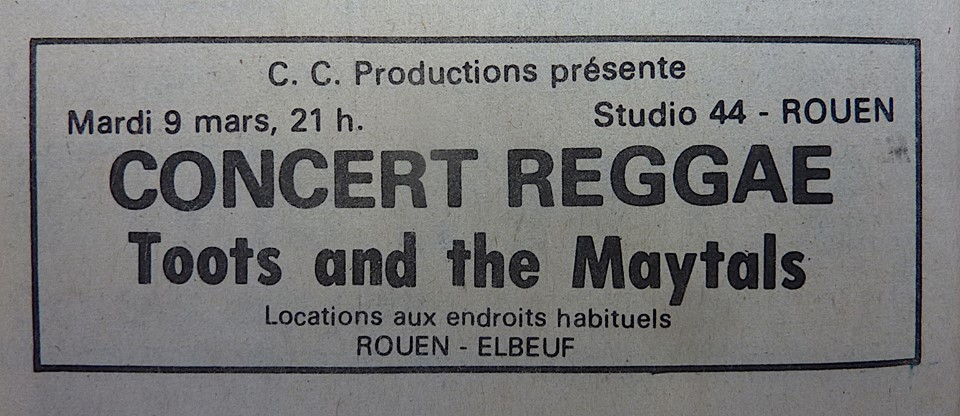 "9 mars 1982 Toots and The Maytals à Petit Quevilly ""Studio 44"""