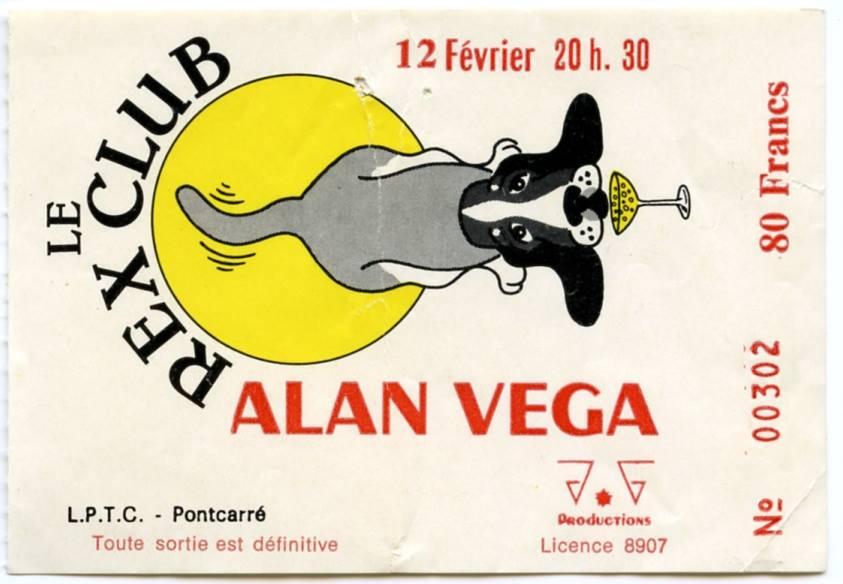 """12 février 1986 Alan Vega à Paris """"le Rex Club"""""""