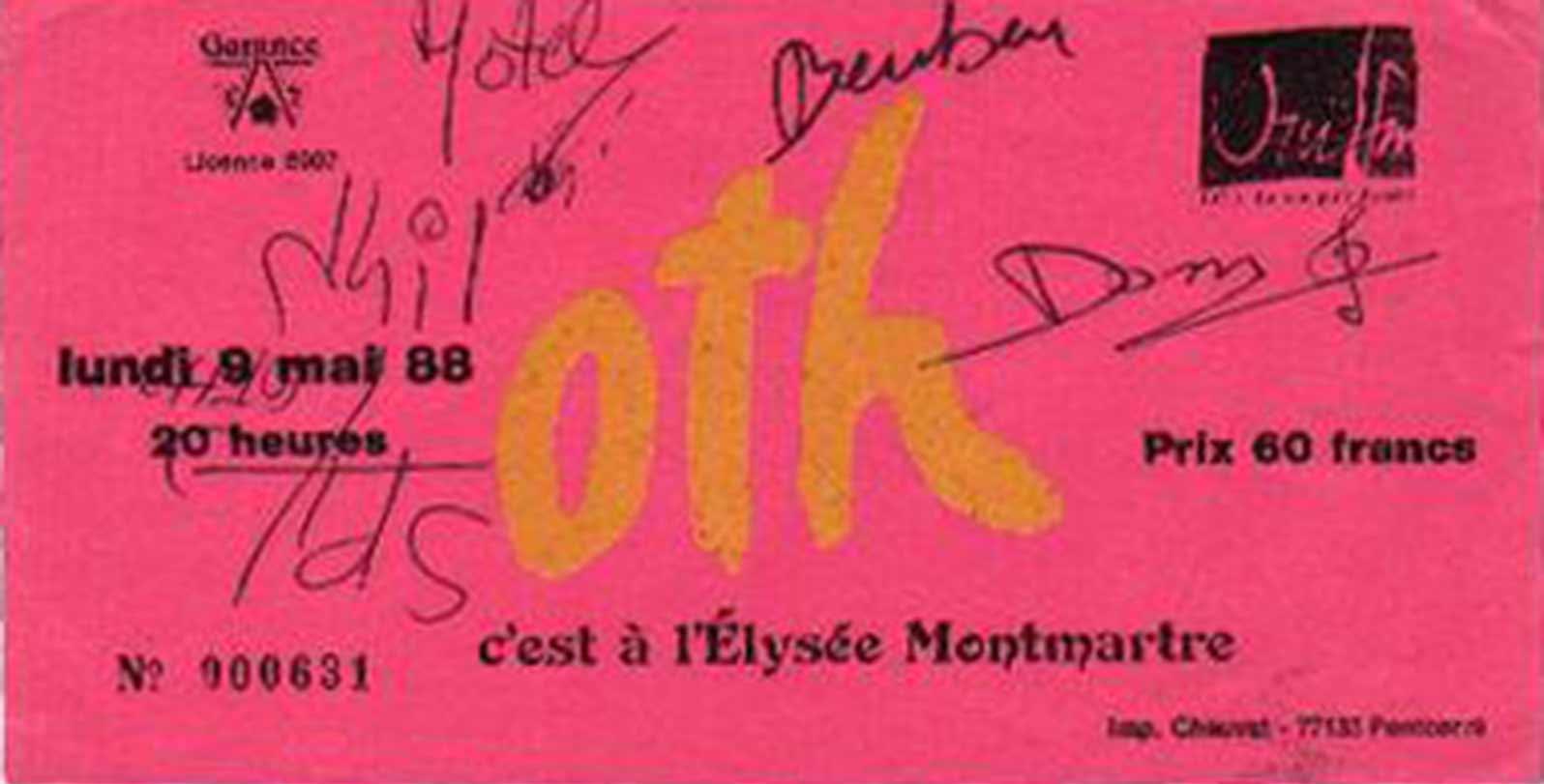 """9 mai 1988 OTH, les Sheriff à Paris """"Elysee Montmartre"""""""