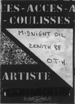 "25 mai 1988 Midnight Oil, Red Hot Chilli Peppers, OTH à Paris ""Zenith"""