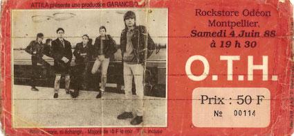 """4 juin 1988 OTH à Montpellier """"Rockstore Odeon"""""""