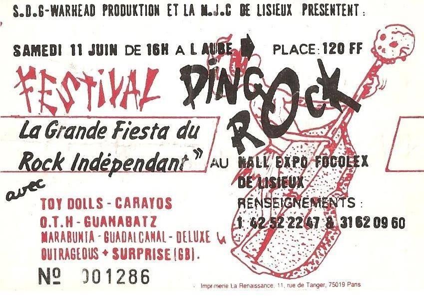 "11 juin 1988 Toy Dolls, Los Carayos, OTH,, Guanabatz, Marabunta, Guadalcanal, Deluxe, Outrageous à Lisieux ""Hall Expo Focolex"""
