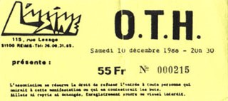 """10 décembre 1988 OTH à Reims """"l'Usine"""""""