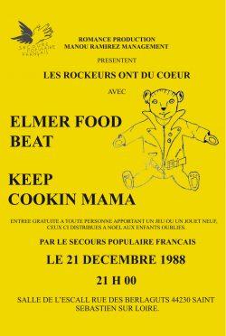 """21 décembre 1988 Elmer Food Beat, Keep Cookin Mama, Bouskidou à Saint Sebastien Sur Loire """"Escall"""""""
