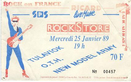 "25 janvier 1989 Tulaviok, OTH, New Model Army à Montpellier ""Rockstore"""