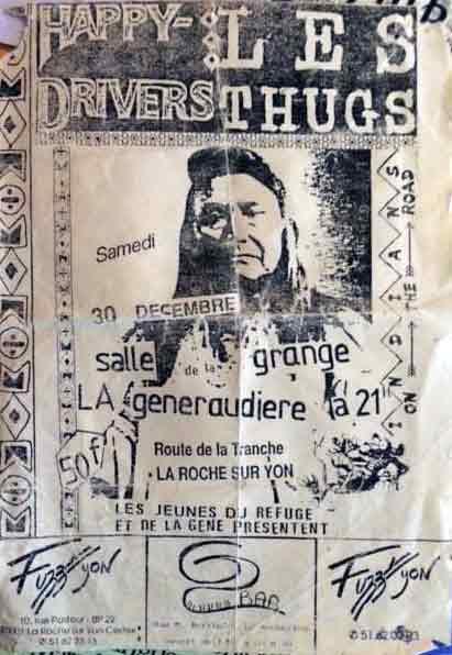 """30 decembre 1989 (?) les Thugs, Happy Drivers à La Roche Sur Yon """"Salle Grange"""""""