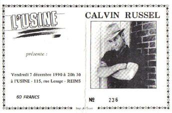 "7 decembre 1990 Calvin Russel à Reims ""l'Usine"""