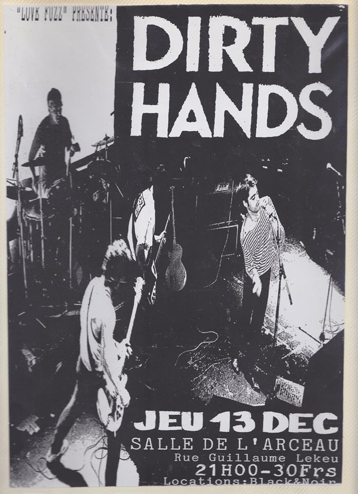 """13 decembre 1990 Dirty Hands à Angers """"Salle de l'Arceau"""""""