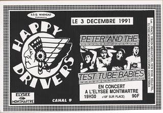 """3 décembre 1991 Peter and the Test Tubes Babies à Paris """"Elysee Montmartre"""""""