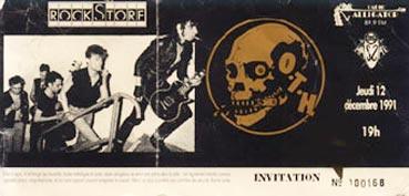 """12 decembre 1991 OTH à Montpellier """"Rockstore"""""""