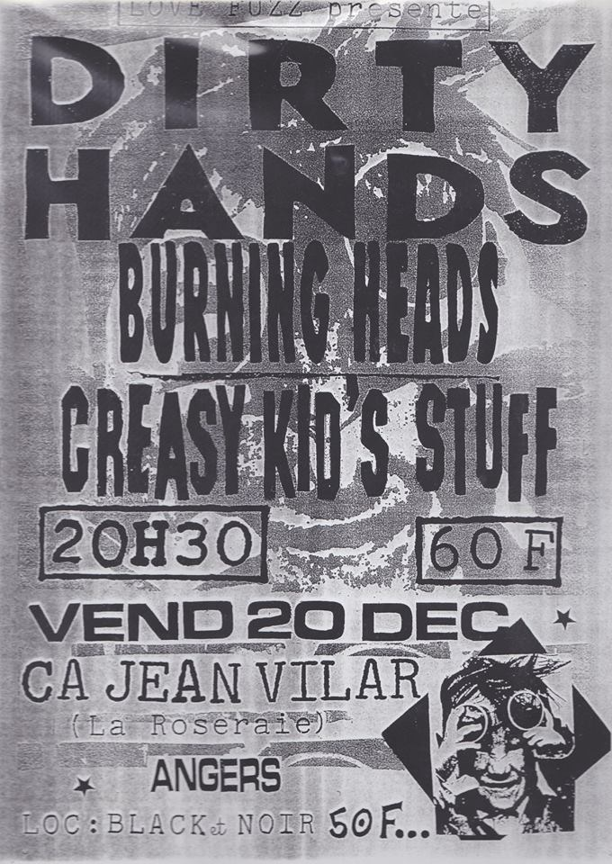 "20 decembre 1991 Dirty Hands, Burning Heads, Creasy Kid's Stuff à Angers ""CA Jean Vilar"""