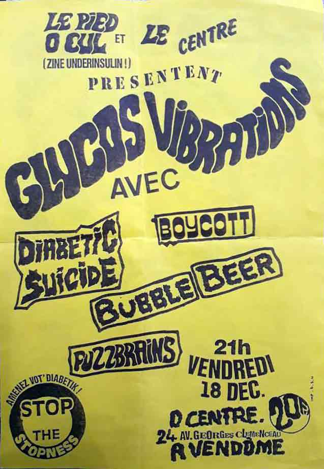 "18 decembre 1992 (?) Diabetic Suicide, Boycott, Bubble Beer, Fuzzbrains à Vendome ""O Centre"""